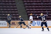 Notre Dame's Graham Slaggert (18) and Landon Slaggert (19) celebrated the game-winning goal Friday night against the Gophers. The Irish completed th