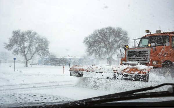 Plows were busy on Hwy. 52 near Zumbrota during an April snowstorm in 2020.