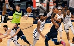 The Wolves will play Atlanta on Monday without (clockwise from upper left) Juancho Hernangomez, Karl-Anthony Towns and Ricky Rubio.