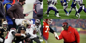 Coaches and players with Minnesota connectios abound in the NFL playoffs, including (clockwise from upper left) Browns coach Kevin Stefanski, Bills re