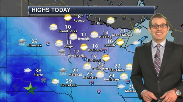 Morning forecast: Mostly cloudy again; high 20