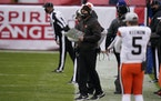 Cleveland Browns head coach Kevin Stefanski, center, watches from the sideline during the second half on Sunday.