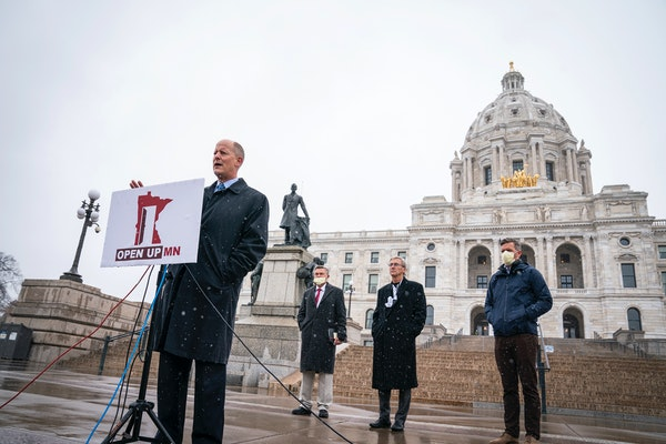 """State Senate Majority Leader Paul Gazelka, R-Nisswa, speaks during a news conference to announce a """"Contract to Open Up Minnesota,"""" outside the St"""