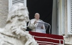 Pope Francis delivered his message Dec. 8, 2020, during the Angelus noon prayer from the window of his studio overlooking St.Peter's Square at the V