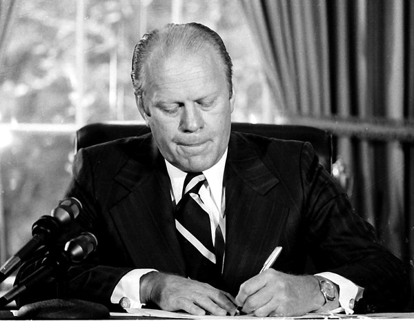 "On Sept. 8, 1974, President Gerald Ford signed a document granting former President Richard Nixon ""a full, free and absolute pardon."""