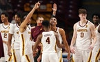 The Gophers celebrated after beating Michigan on Saturday at Williams Arena.