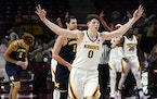 Minnesota's Liam Robbins celebrates his three-point shot against Michigan in the second half Saturday.