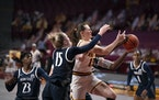 Minnesota Gophers forward Kayla Mershon (15) will face her former team Wednesday.