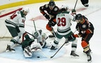 Wild goaltender Cam Talbot stopped a shot by the Ducks during the second period Monday.