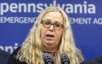 FILE - In this March 12, 2020, file photo, Pennsylvania Secretary of Health Rachel Levine provides an update on the coronavirus known as COVID-19 in H
