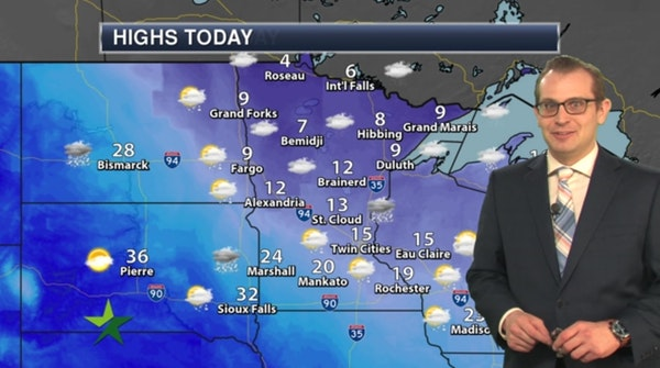 Forecast: Low of 5; partly to mostly cloudy, with rising temps late