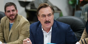 MyPillow CEO Mike Lindell, shown in a 2020 file photo, says he's more concerned about election results than the effect of his fight on his company.