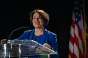 U.S. Senator Amy Klobuchar (D-Minn.) spoke during the DFL Election Night Watch Party. ] LEILA NAVIDI • leila.navidi@startribune.comBACKGROUND INFORM