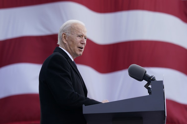 "President-elect Joe Biden speaks at the Major Joseph R. ""Beau"" Biden III National Guard/Reserve Center in New Castle, Del., on Jan. 19 before depa"