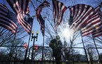 A worker installs flags in front of the While House in preparation for Inauguration Day.