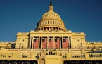 The inaugural stage at the Capitol in Washington, on Tuesday, Jan. 19, 2021, is ready for the schedule inauguration of President-elect Joe Biden on We