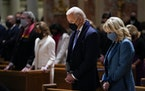 President-elect Joe Biden and his wife Jill Biden as they attend Mass at the Cathedral of St. Matthew the Apostle during Inauguration Day ceremonies W