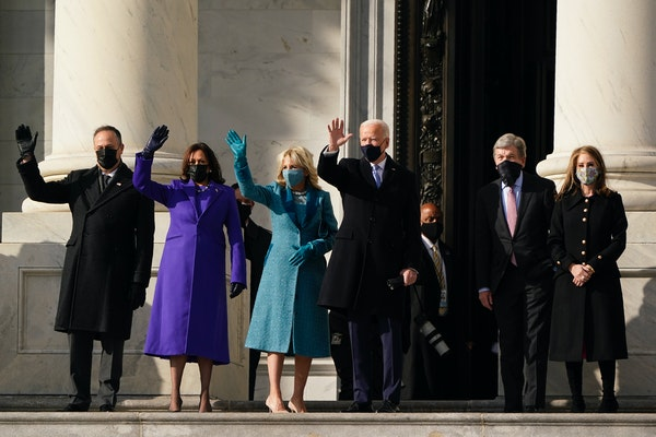 President-elect Joe Biden, his wife Jill Biden, and Vice President-elect Kamala Harris and her husband Doug Emhoff arrive at the steps of the U.S. Cap