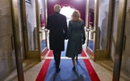 President Joe Biden and Jill Biden arrive at the Capitol on Inauguration Day.