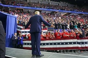 President Donald Trump greeted cheering crowds at the Target Center in Minneapolis, Minnesota.       ] GLEN STUBBE • glen.stubbe@startribune.com   T