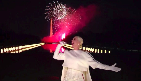 In this image from video, Katy Perry performed during the Celebrating America event on Wednesday, Jan. 20, 2021, following the inauguration of Preside