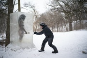 Len Schmid checked out cave man Zug Zug at Theodore Wirth Park in Minneapolis.