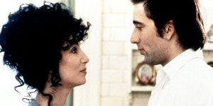 "Cher and Nicolas Cage in the 1987 romantic comedy ""Moonstruck."""