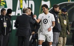 Loons coach Adrian Heath greeted Luis Amarilla as he left the field during a match in Portland, Ore., on March 1.