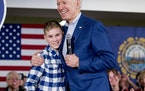 Candidate Joe Biden met Brayden Harrington while on a February campaign stop in New Hampshire.
