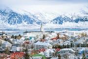 View of Reykjavik in winter.