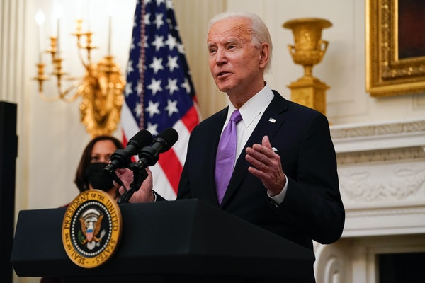 President Joe Biden spoke about the coronavirus, accompanied by Vice President Kamala Harris, in the State Dinning Room of the White House on Thursday