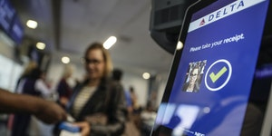 Delta Air Lines begins to allow passengers to use facial recognition cameras to confirm their identity at an LAX boarding gate on Sept. 6, 2019. . (Ro