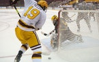 Minnesota Gophers right wing Scott Reedy (19) maneuvered the puck to shoot on Arizona State Sun Devils goaltender Justin Robbins (31) in the first per