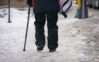 Icy sidewalks are a challenge even if you don't need a cane.
