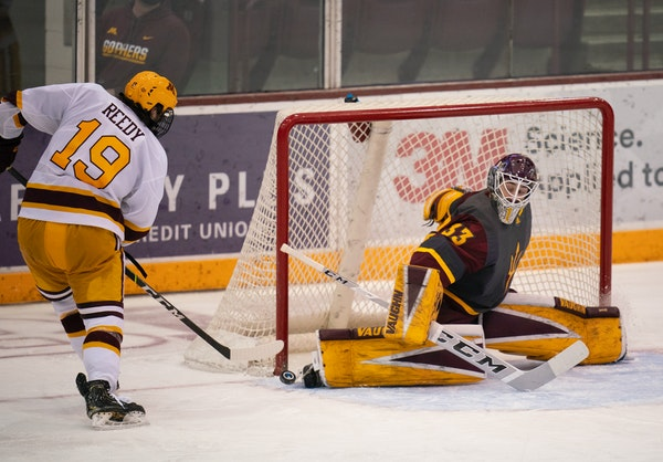 Arizona State goalie Bronson Moore, called up from the Sun Devils club team, denied Gophers forward Scott Reedy in the third period of Minnesota's 1