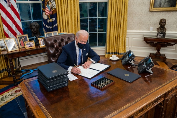 In 17 executive orders, memorandums and proclamations signed hours after his inauguration, President Joe Biden moved swiftly on Wednesday to dismantle