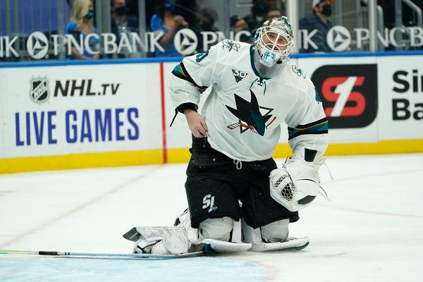 San Jose's Devan Dubnyk gave up a goal to the Blues during Monday's game in St. Louis.