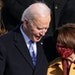 President Joe Biden and Sen. Amy Klobuchar during Biden's inauguration on the West Front of the U.S. Capitol on Wednesday.  Klobuchar had a very vis