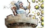 Sack cartoon: COVID defenses
