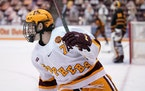 Minnesota forward Brannon McManus (7) who scored earlier skated back after a missed shot on goal in the first period.