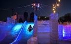 A child made their way down the slide at the ice maze in Stillwater Friday night. The maze opened to the public on Friday, Jan. 22, 2021 outside the Z
