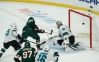 Wild left wing Zach Parise scored against San Jose Sharks goaltender Devan Dubnyk in the second period.