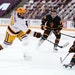 Gophers forward Bryce Brodzinski took a shot on goal as Arizona State defenseman Jack Judson defended Friday. The Gophers won in a rout, 10-2.