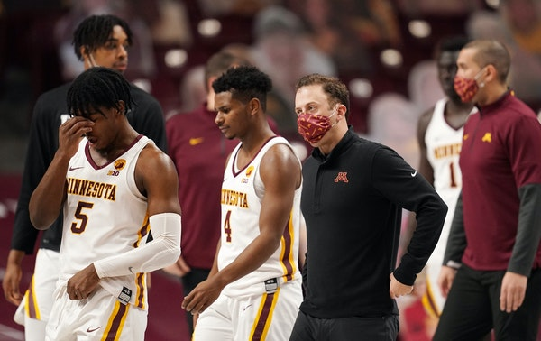 Minnesota guard Marcus Carr (5) reacted after the loss to Maryland at the end of the second half Saturday at Williams Arena.