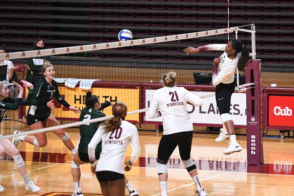 Stephanie Samedy smacked set point to take a 2-0 lead over Michigan State on Saturday afternoon. The Gophers won in a sweep.