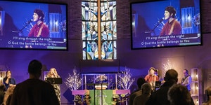Ben Webb, worship director at Emmaus Church in Bloomington, uses the latest technology to integrate music into Sunday service. The National Congregati