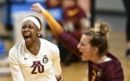 Adanna Rollins (20) ranked third on the Gophers team with 158 kills this season.