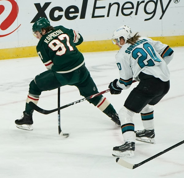 Wild left winger Kirill Kaprizov made a nifty move between his legs toward the net in the third period as Sharks left winger Marcus Sorensen tried to