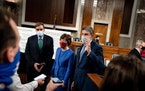 From left, Sens. Mark Warner, D-Va., Susan Collins, R-Maine, and Joe Manchin, D-W.Va., spoke to reporters after introducing theirCOVID-19reliefb