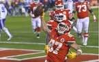 Chiefs tight end Travis Kelce celebrated after catching a 5-yard touchdown pass during the second half of Kansas City's 38-24 victory over Buffalo o